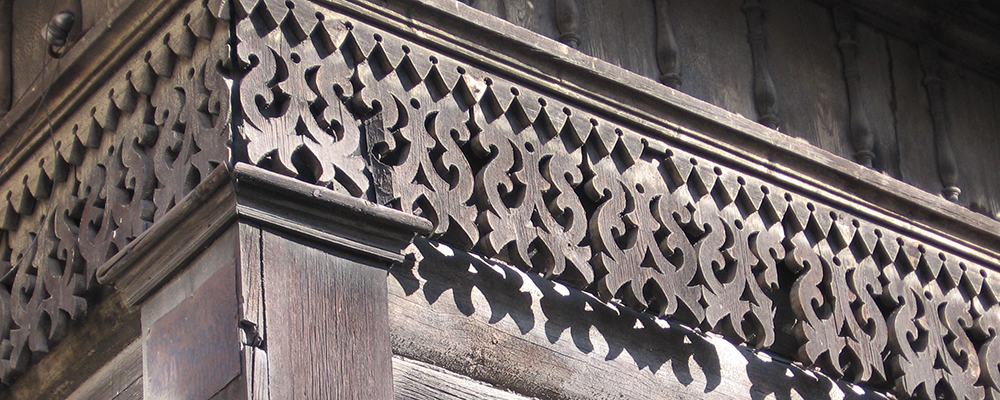 Architectural detail on wooden house in Irkutsk